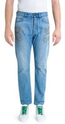 Versace Studded Light Wash Jeans