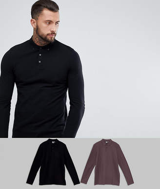 Asos DESIGN pique long sleeve polo 2 pack save
