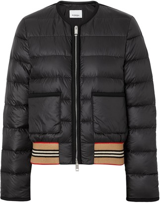 Burberry Icon Stripe Detail Down-filled Puffer Jacket
