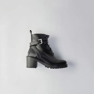 Maje Heeled lace-up glazed leather booties