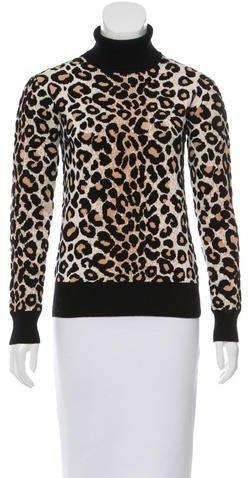 CelineCéline Cheetah Pattern Turtleneck Sweater