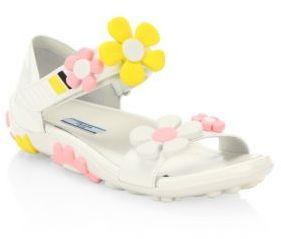 Prada Flower Leather Grip-Tape Sandals