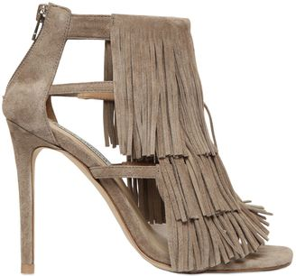 100mm Fringed Suede Sandals $162 thestylecure.com