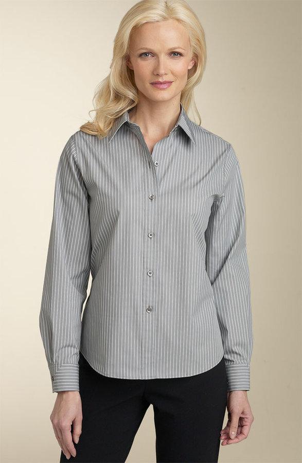 Foxcroft Stripe Fitted Stretch Shirt (Petite)