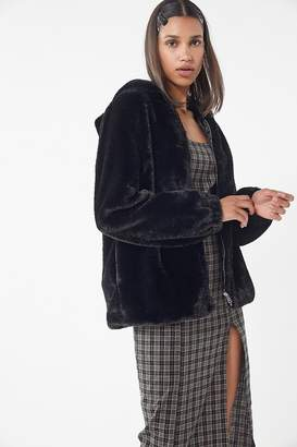 Urban Outfitters Faux Fur Hooded Zip-Front Jacket