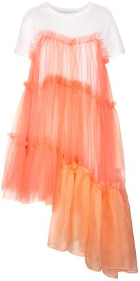 In.No Raven Jersey Tulle Organza Papaya Dress