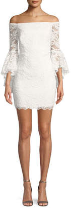 Milly Selena Lace Off-the-Shoulder Mini Dress