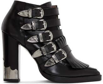 Toga Pulla Black Five-Buckle Heeled Western Boots