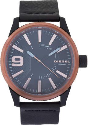 Diesel DZ1841 Black Leather & Rose Gold-Tone Rasp Watch
