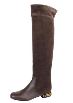 Gucci Women's Suede Bamboo Knee High Heel Boots 338698