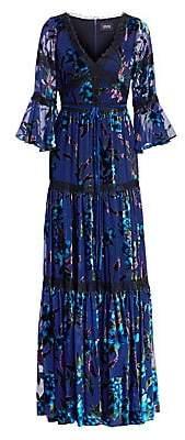 Marchesa Women's Floral Velvet Burnout Gown