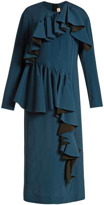 Marni Gathered-ruffle long-sleeved crepe dress