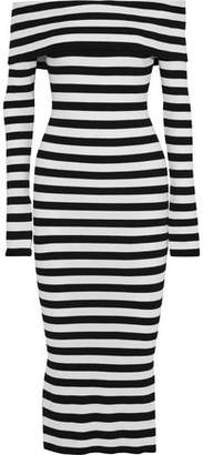 Milly Off-the-shoulder Striped Ribbed-knit Midi Dress