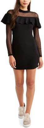 Paperdoll Paper Doll Juniors' Bodycon Dress with Mesh Sleeves and Ruffle Detail