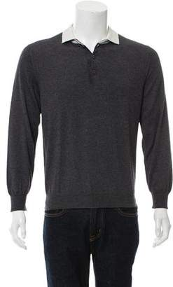 Salvatore Ferragamo Cashmere Long Sleeve Polo