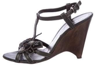 Miu Miu Floral-Embellished T-Strap Sandals