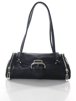 Cole Haan  Cole Haan Black Leather Zipper Trim Small Double Straps Shoulder Handbag