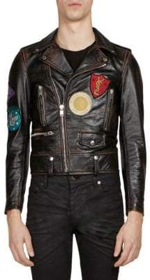 Saint Laurent Multi-Patch Leather Moto Jacket