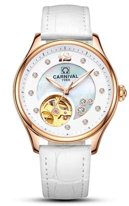 Carnival Women's Automatic Self Winding Analog Luxury Bracelet Watch with Stainless Steel Case and Leather Band