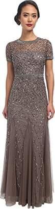 Adrianna Papell Women's Short-Sleeve Beaded Mesh Gown