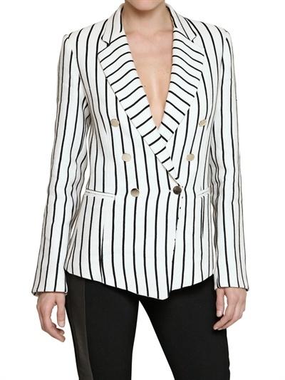 Space Striped Cotton Linen Blend Jacket