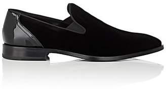 Barneys New York Men's Velvet & Patent Leather Venetian Loafers - Black
