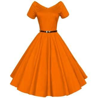 M Blue Shengdilu Women's Vintage 1950s Style 3/4 Sleeve Floral Lace Flare A-Line Dresses Retro Dress Vintage Dress Swing Dresses