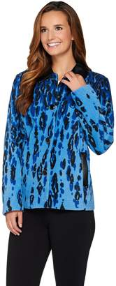Bob Mackie Bob Mackie's Animal Printed Fleece Jacket w/ Faux Leather Detail
