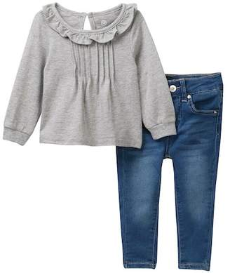 AG Jeans Heathered Jersey Top & Pants 2-Piece Set (Baby Girls)
