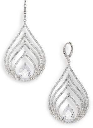 Jenny Packham Pave Openwork Chandelier Earrings
