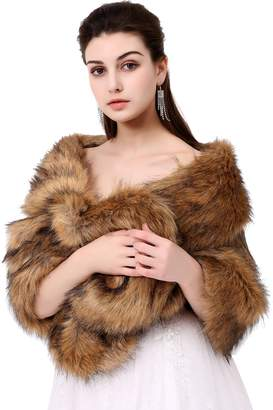 Poplarboy Party Evening Wedding Fur Wraps and Shawls Bridal Fur Stole