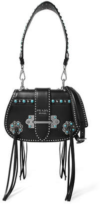 Prada Folk Tasseled Embellished Leather Shoulder Bag - Black
