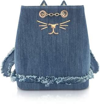 Charlotte Olympia Medium Denim Petit Feline Backpack
