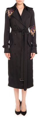 Victoria Beckham Floral-Embroidered Double-Breasted Trenchcoat, Black Orchid $2,550 thestylecure.com