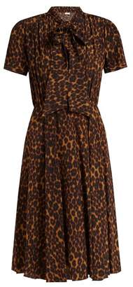 Masscob Delon leopard-print silk midi dress