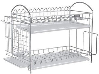 NEX 2-Tier Stainless Steel Dish Rack With Chopstick And Utensil Holder, Moveable S-Hooks, Cutting Board Holder, And Draining Tray (NX-BOWLSHELF04)