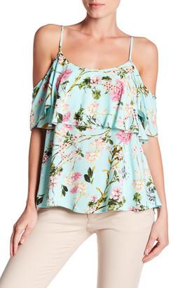 Bobeau Ruffled Floral Cold Shoulder Blouse $48 thestylecure.com