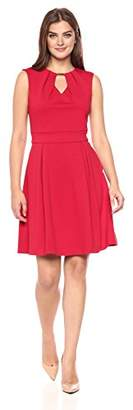 Lark & Ro Women's Short Sleeve Fit and Flare Dress with Keyhole