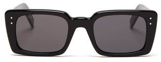 Gucci Logo Engraved Square Acetate Sunglasses - Womens - Black Grey