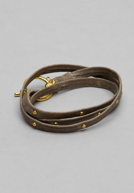 Gorjana Graham Brown Leather Wrap Bracelet/Gold Studs