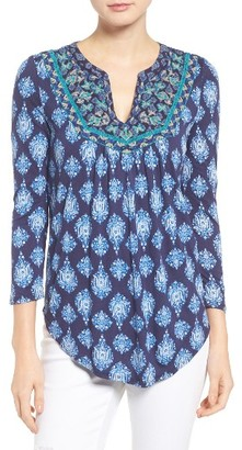 Women's Lucky Brand Embroidered Bib Print Knit Top $69.50 thestylecure.com