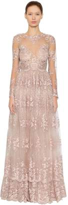 Luisa Beccaria Lace & Tulle Long Dress