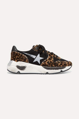 Golden Goose Running Sole Distressed Leopard-print Calf Hair And Neoprene Sneakers