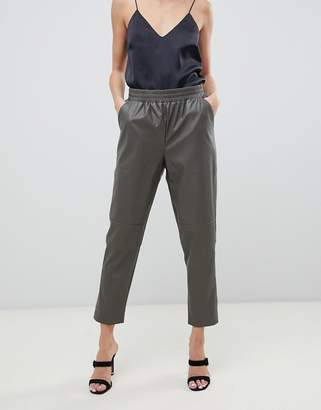 Asos elastic waist PU trousers