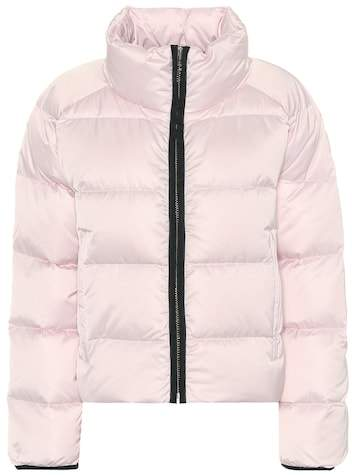 Performance satin down jacket