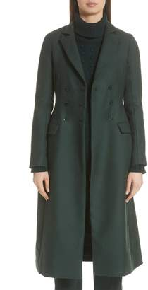 Lela Rose Seamed Wool Twill Three-Quarter Coat
