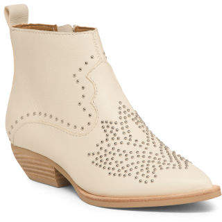 Studded Ankle Leather Booties