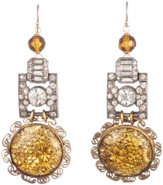Lulu Frost Vintage Golden Flower Art Deco Link Earrings