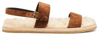 Saint Laurent NoA Shearling Sole Suede Sandals - Womens - Tan White
