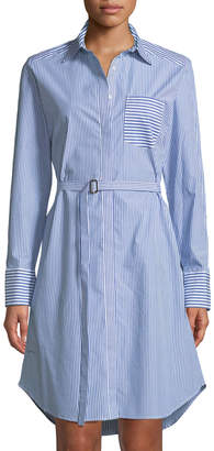 Iconic American Designer Striped Belted Shirtdress